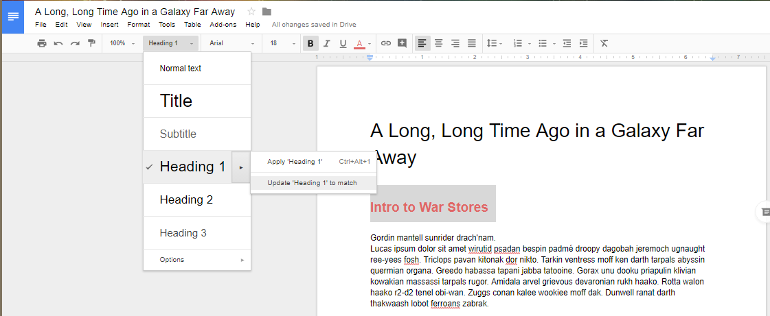 how to change format table of contents google docs
